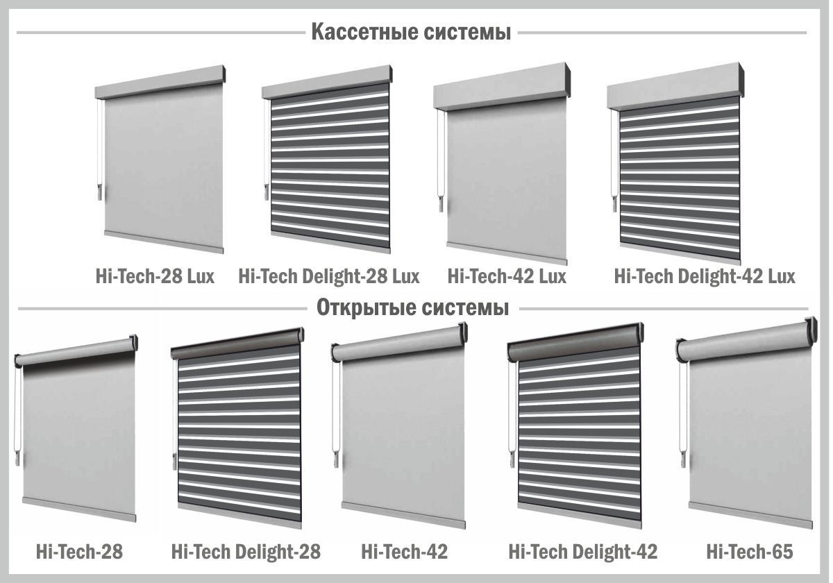 варианты hi-tech рулонных штор
